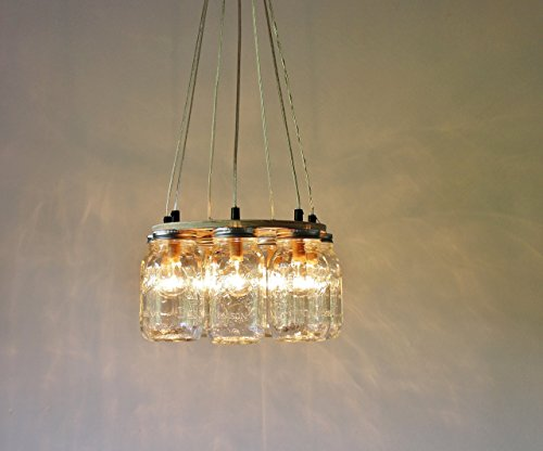 Ring Mason Jar Chandelier Lighting Fixture, 7 Clear Quart Jars, Bulbs Included by BootsNGus