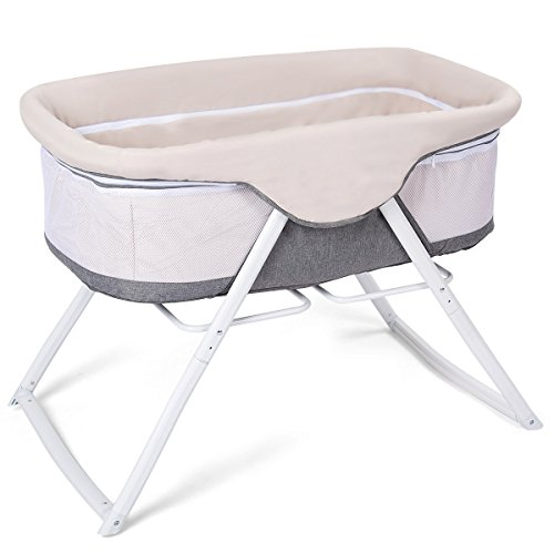Costzon Baby Bassinet, Lightweight Rocking Crib with Detachable & Washable Mattress, Breathable Side Mesh, Portable Oxford Carry Bag ()