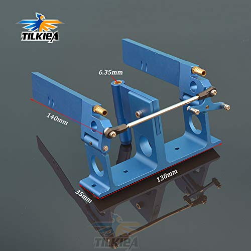 (Part & Accessories Blue CNC Aluminum Dual Water Rudder with Strut 140mm For 1/4' (6.35mm) Shaft RC Boat Gas O Boat)