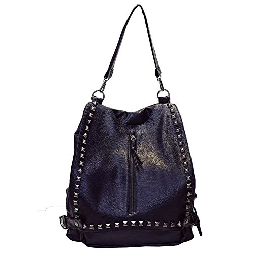 Women Leather Hiking Backpacks Desigual Bag Black - 6