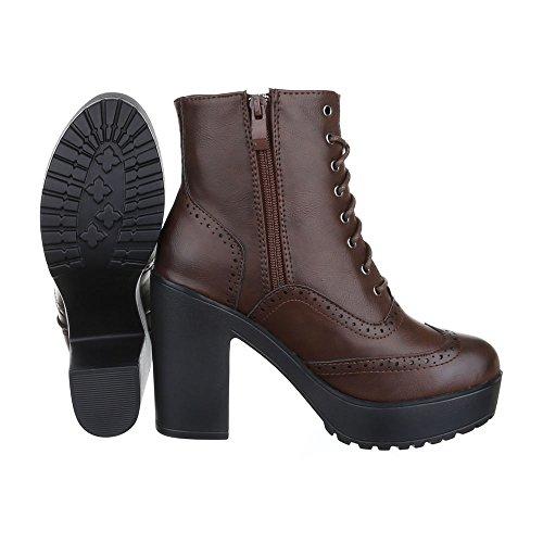 Ital-Design - Botas Militar Mujer marrón