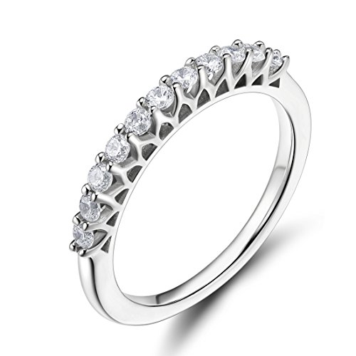 Platinum Pave Diamond Setting - EAMTI 925 Sterling Silver Cubic Zirconia Half Eternity Ring Engagement Wedding Band (9)