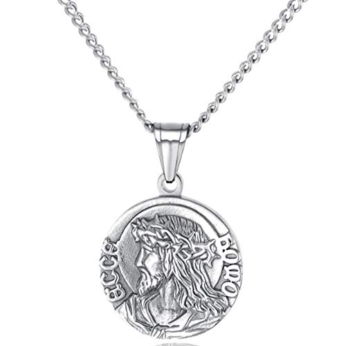 (XRDSS Christian Jesus Christ Face Pendant Necklace Stainless Steel Medallion Necklace Silver)