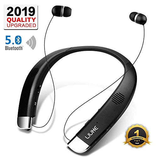 [Newest V5.0] Bluetooth Headphones Speaker 2 in 1,LIUHE Neckband Portable Wireless Headset Wearable Speaker True Stereo Sound Sweatproof Headphones with Retractable Earbuds Built-in Microphone