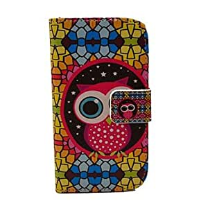 QYF 20150511 Cute Owl And Folk Style Pattern PU Leather Full Body Case for Samsung S3 Mini I8190N