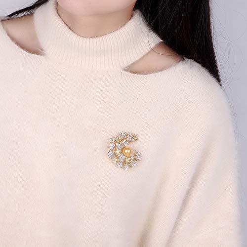 YYOGG Brooch Zircon Natural Pearl Snowflake Brooch Suit Crystal Pin Pin Wedding Jewelry