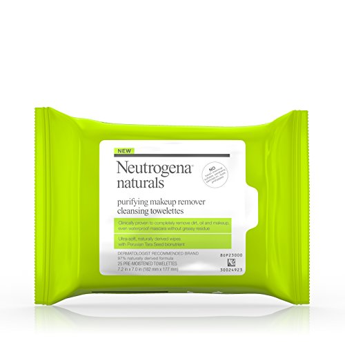 Neutrogena Naturals Purifying Makeup Remover Facial Cleansing Towelettes with Peruvian Tara Seed Bionutrient, Hypoallergenic, Non-Comedogenic & Sulfate-, Paraben- & Phthalate-Free Face Wipes, 25 ct.