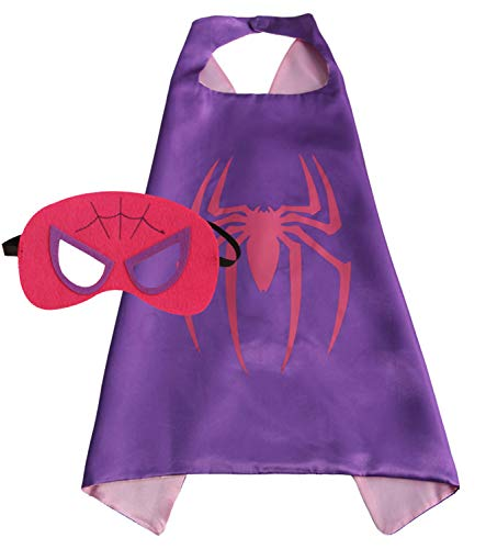 Girls Super Hero Cape and Mask Dress Up Costume (Spider Girl) -