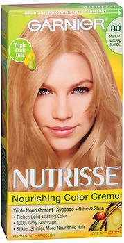 Garnier Nutrisse Nourishing Color Treatment with Fruit Oil Concentrates, Level 3 Permanent, Medium Natural Blonde 80 (Pack of 3)