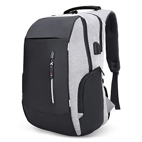 Mochila antirrobo, mochila Daypack 30L con conector de auriculares con interfaz de carga USB y candado con contraseña,...
