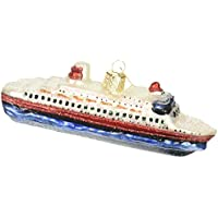 Old World Christmas Cruise Ship Glass Blown Ornament for Christmas Tree