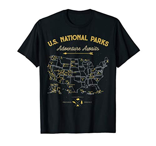 National Parks T shirt Map Camping tshirt Women Men Hiking