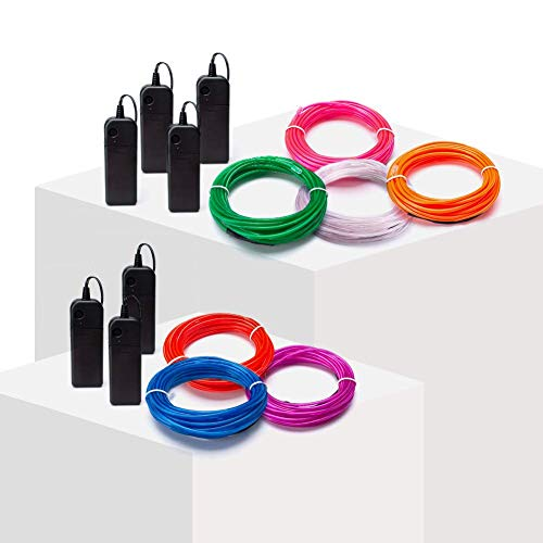 (On'h EL Wire - 9ft Neon Glowing Strobing Electroluminescent Wire DIY with 3 Modes Controllers- Red, Green, Blue, White, Pink, Purple, Orange (9ft,)