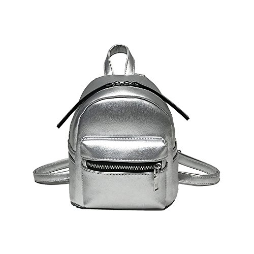Meaeo Bolso De Hombro Pequeña Mochila Bolso De Cáscara Pequeño Bolso Cuadrado Moda Negro Silver