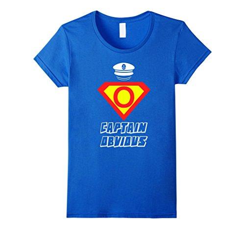 [Women's FUNNY CAPTAIN OBVIOUS T-SHIRT Superhero Humor Meme Joke Gift Medium Royal Blue] (Super Nerd Costume)