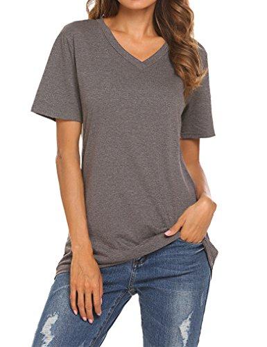 Qearal Women's Summer Short Sleeve V-Neck Loose Casual Tee T-Shirt Tops (Dark Grey, XXL)