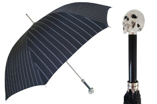 Pasotti Ombrelli Lux Silver Skull Black Pin Striped Rain Umbrella