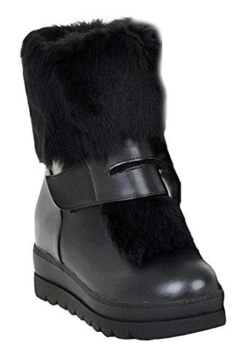 CHFSO Womens Fashion Waterproof Fully Fur Lined Hook-and-loop Ankle High Mid Heel Platform Warm Winter Black