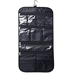WMB Travel Pro 41CVXVOSQBL._SS247_ Premium Hanging Toiletry Travel Bag - Cosmetic, Jewelry, Toiletry & Accessory Storage Organizer Bag, Large Size, Various…