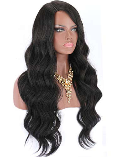 """Kalyss 28"""" Black Yaki Synthetic Hair Wigs for Women Long Body Wavy Curly Wigs L Parting Natural Looking Heat Resistant Replacement Wigs"""