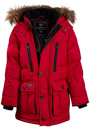J. Whistler Men's Base Camp Parka Bubble Jacket with Fleece Lined Hood, Size X-Large, Red