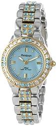 Armitron Women's 75/3689BMTT Blue Swarovski Crystal Accented Two-Tone Bracelet Watch