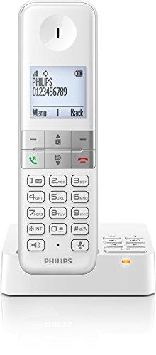 Philips D4551W/38 schnurloses Telefon mit Anrufbeantworter (4,6 cm (1,8 Zoll) Display, HQ-Sound, Mobilteil mit Freisprecheinrichtung) weiß