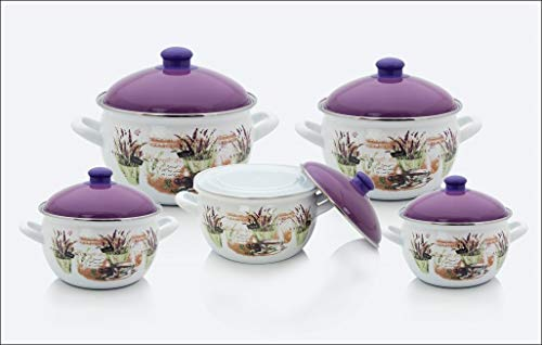 Uniware Super Quality Premium Enamel Cookware Set (10 Pieces Set, White (Geometry pattern))