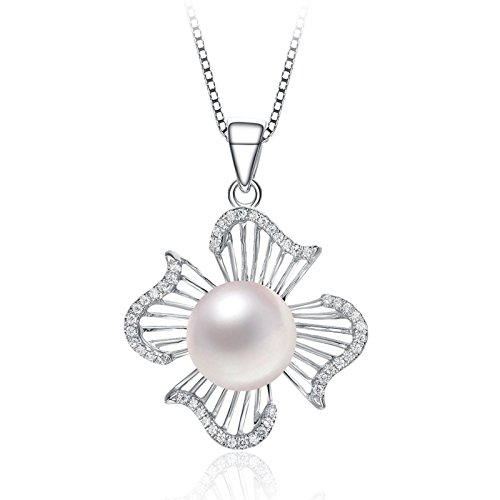 GreenHS Sterling Silver Fashion Flower Shell Pearl Pendant Necklace