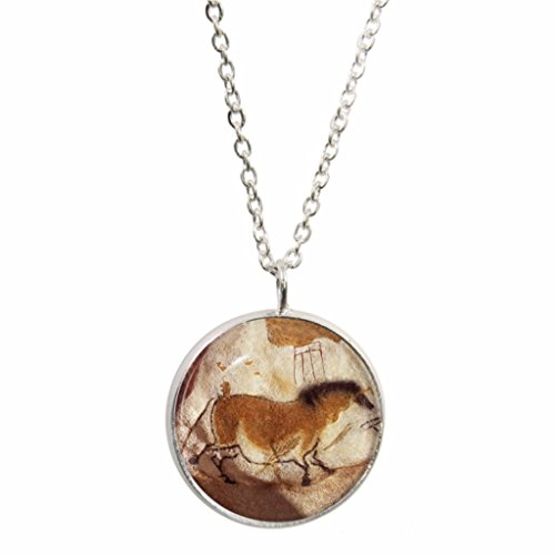 Cave Painting Pendant and Silver Plated Necklace Set