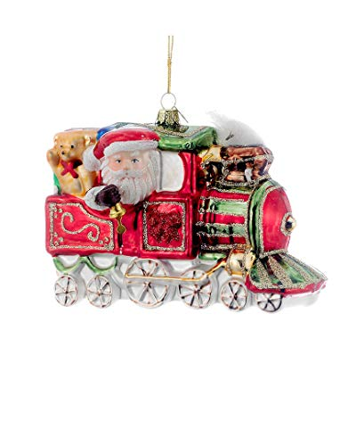 (Noble Gems Kurt Adler Glass Santa on Christmas Train Ornament, 5.5-Inch)