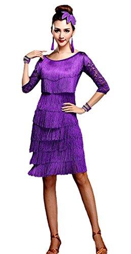 Honeystore Women's 1920 Latin Top and Skirt Set Lace Tiered Tassel Dance Costume Purple L (Latin Dancing Costume Patterns)