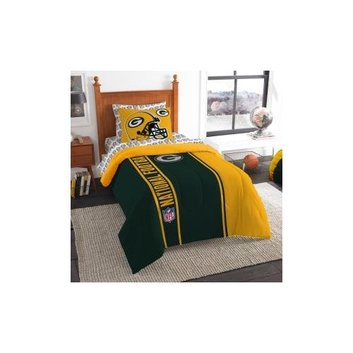 Officially Licensed NFL Green Bay Packers Soft & Cozy 5-Piece Twin Size Bed in a Bag Set Green Bay Packers Bedding