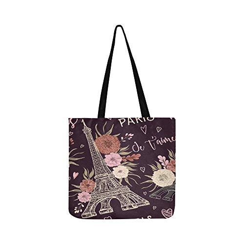 Asos Hipster - Vintage Paris Eiffel Tower Floral Flower Canvas Tote Handbag Shoulder Bag Crossbody Bags Purses For Men And Women Shopping Tote