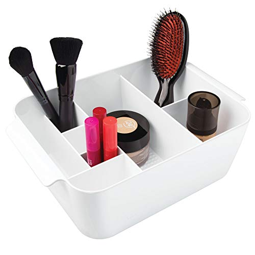 (InterDesign Clarity Cosmetic Organizer Tote for Vanity Cabinet to Hold Makeup, Beauty Products - White)