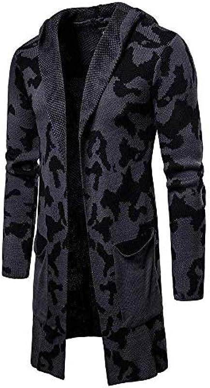 Saoye Fashion Cardigan męska bluzka z dzianiny, z dzianiny, kamuflaż, jesienna kurtka zimowa Fiesta, kurtka outwear Tops: Odzież