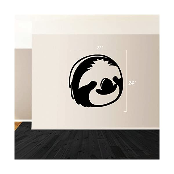 Stickany (2X) Wall Series Sloth Face Sticker For Windows, Rooms, And More! (Black) -