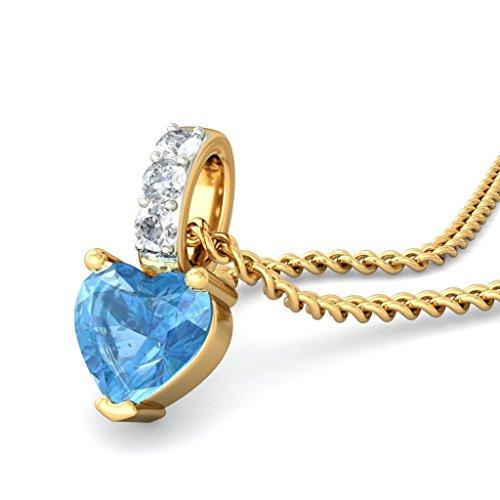 14K Or jaune 0.05CT TW Round-cut-diamond (IJ | SI) et topaze bleue Pendentif
