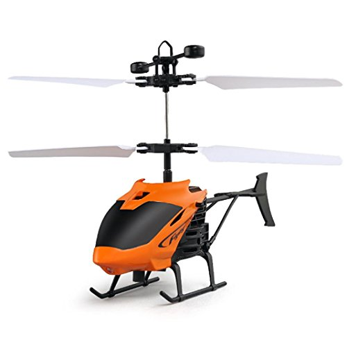 Flying Helicopter Mini RC Infraed Induction Helicopter Aircraft Flashing Light Toys for Beginners Best RC Drone Gift (Orange) ()