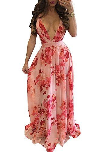- Aro Lora Women's Floral Print Deep V Neck Backless Boho Long Maxi Party Dress 2X-Large Pink