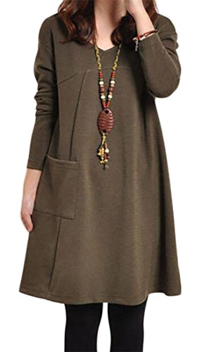 Neck Midi Long Dress Casual Cromoncent A Coffee V Loose Fit Solid Line Womens Sleeve UFqF0wP