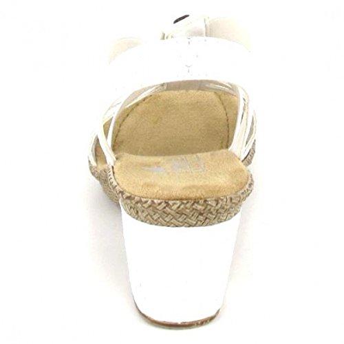 Rieker 66514-80 Ladies Block Heel Sandals White weiss f4MtixKW