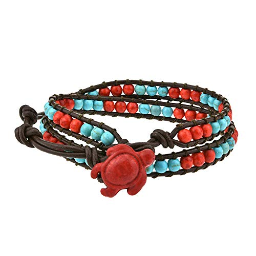 - AeraVida Timeless Ocean Sea Turtle Reconstructed Red Coral and Simulated Turquoise Double Leather Wrap Bracelet