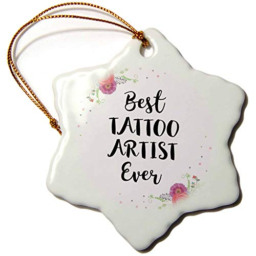 3dRose InspirationzStore - Love Series - Floral Best Tattoo Artist Ever Watercolor Pink Flowers Tattooist Gift - 3 inch Snowflake Porcelain Ornament (ORN_317290_1)
