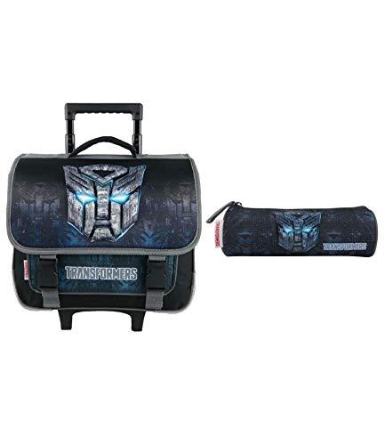 Cartable A roulettes 38CM + Trousses Noir-Transformers Hasbro Bagtrotter