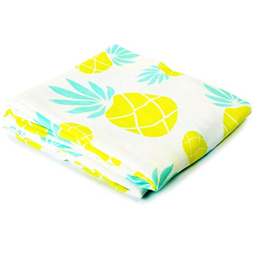 Muslin Swaddle Blanket Large 47'x47' Pineapple Print Prevents Overheating Newborn Infant Baby Receiving Blanket Wrap Boys Girls