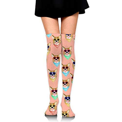 Women's Over The Knee High Socks Colorful Corgi Love Sunglass ()
