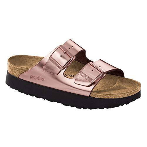 Birkenstock Women's Papillio Arizona Platform Sandal Metallic Copper Leather Size 37 N EU