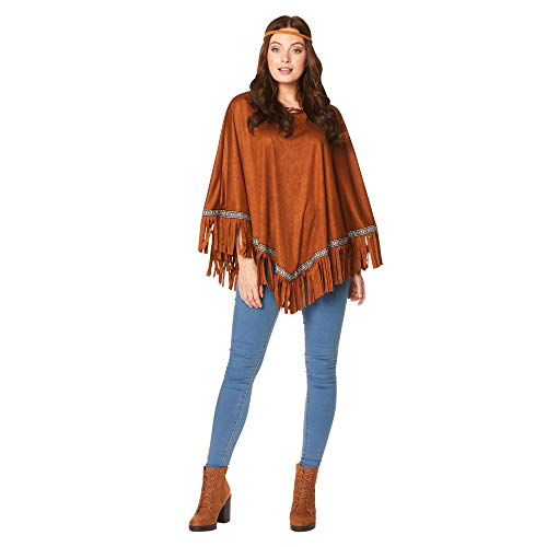 Indian Girl Poncho - Halloween Womens Native American Fringe Costume, One Size