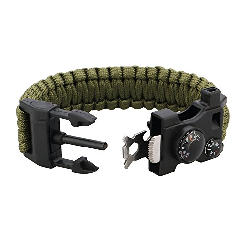 Survival-Bracelet-Paracord-Bracelet-Featured-Outdoor-Paracord-Survival-Bracelet-WhistleCompass-Temp-Fire-Starter-Functional-Tool-for-Hiking-Camping-Hunting-Army-Green